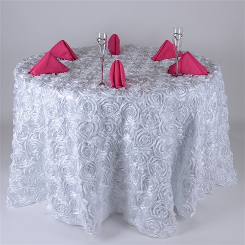 White - 132 inch Rosette Satin Round Tablecloths