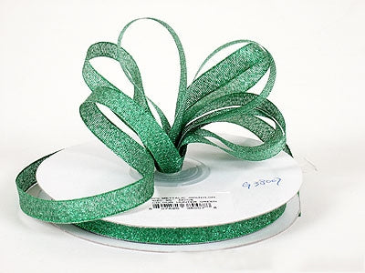 3/8 inch Hunter Green Metallic Ribbon