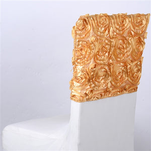 "16 Inch x 14 Inch Gold 16"" x 14"" Rosette Satin Chair Top Covers"