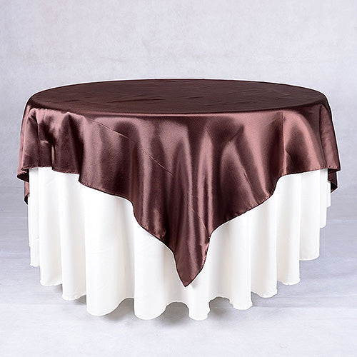72 Inch Chocolate 72 x 72 Satin Table Overlays