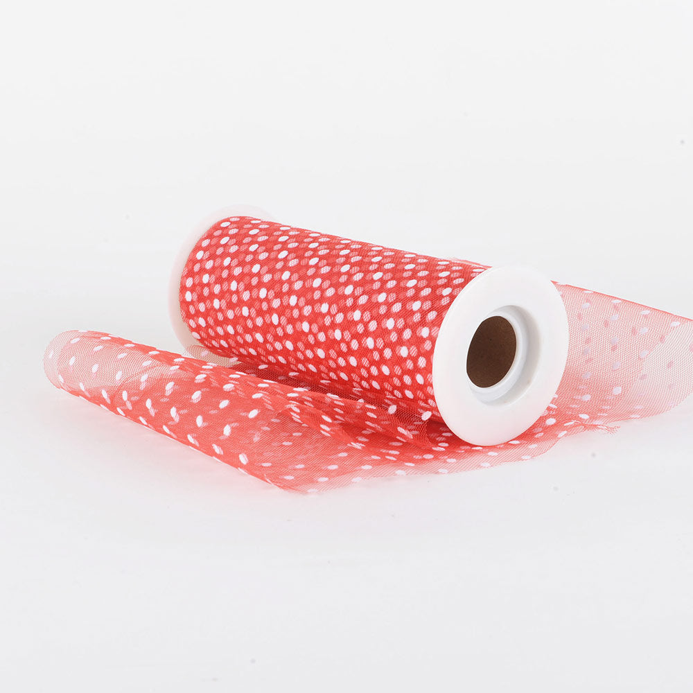 6 inch Red Swiss Dot Tulle