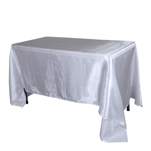 90 Inch x 132 Inch White Rectangular Satin Tablecloths