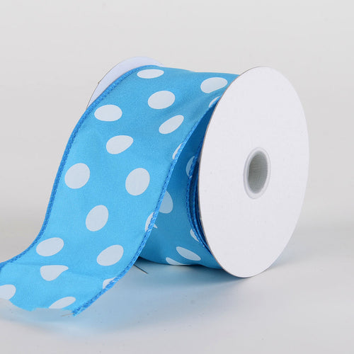 Satin Polka Dot Ribbon Wired  Turquoise with White Dots ( W: 2-1/2 inch | L: 10 Yards )