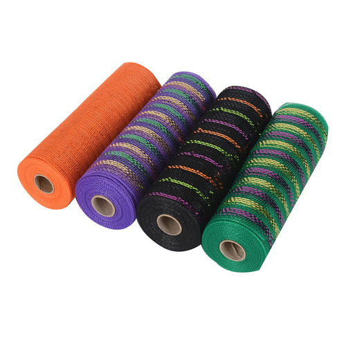 Halloween Mesh Set - Pack of 4 ( 10 Inch x 10 Yards ) - XB90419*XB9171011M*NXB9181021*XB9171017