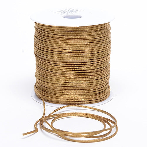 3mm x 100 Yards Old Gold 3mm Satin Rat Tail Cord