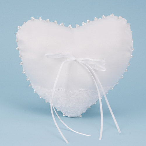7 Inch x 8.5 Inch White Ring Bearer Pillow