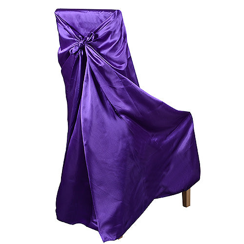 Universal Satin Chair Cover Purple Wholesale Chair Covers
