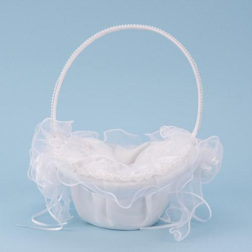 Flower Girl Baskets Ivory ( 10 Inch x 8 Inch )