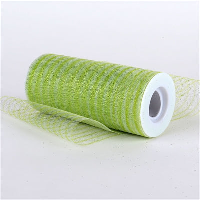 Apple Green 6 Inch Glitter Multi Striped Tulle