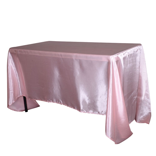 90 Inch x 132 Inch Light Pink 90 x 132 Satin Rectangle Tablecloth