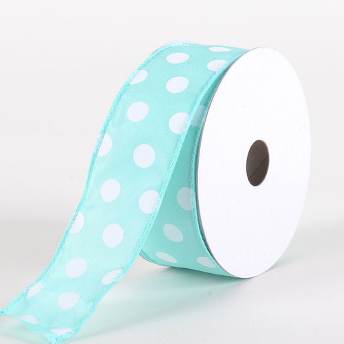 Satin Polka Dot Ribbon Wired Aqua with White Dots ( W: 1-1/2 inch | L: 10 Yards )