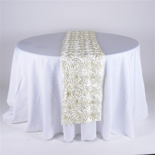 Ivory - 14 x 108 Inch Rosette Satin Table Runners - FuzzyFabric