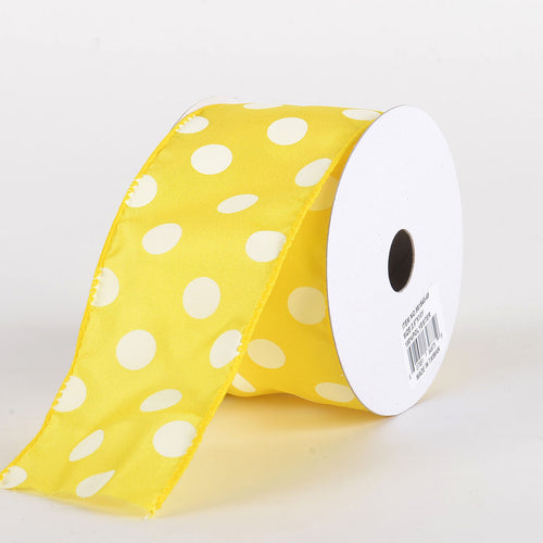 Satin Polka Dot Ribbon Wired Yellow with White Dots ( W: 1-1/2 inch | L: 10 Yards )