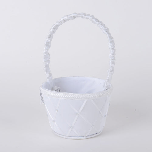 Flower Girl Baskets White ( 9 Inch )