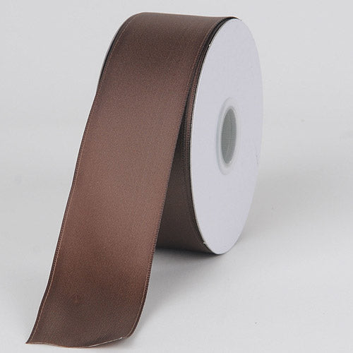 1-1/2 inch Chocolate Satin Ribbon Wired Edge