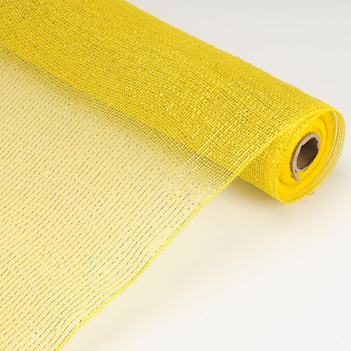 Yellow - Laser Metallic Floral Deco Mesh Wrap ( 21 Inch x 10 Yards )