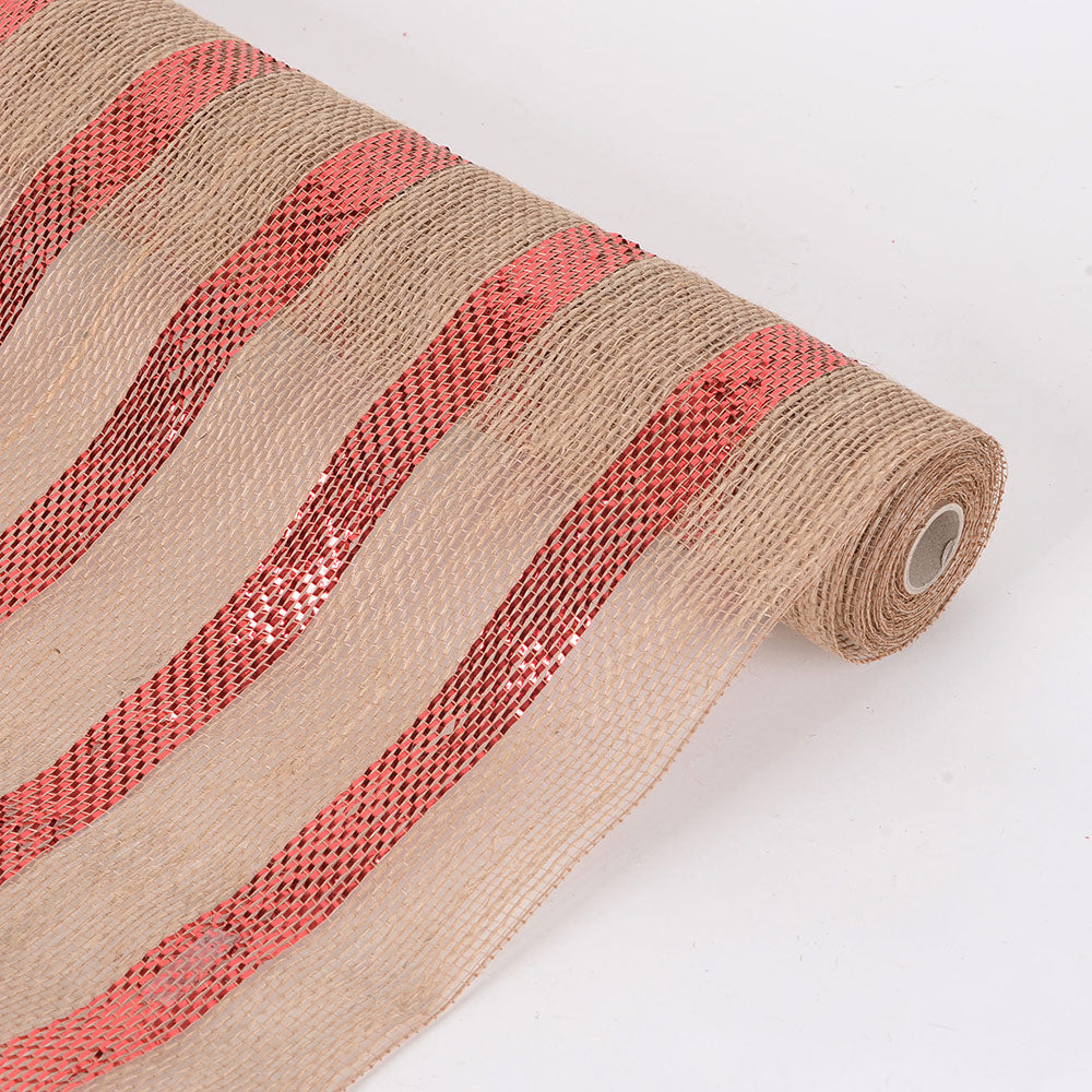 6 Inch x 10 Yards Red Natural Burlap Metallic Stripes Mesh