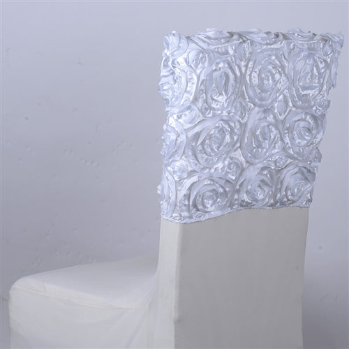 White - 16 x 14 Inch Rosette Satin Chair Top Covers