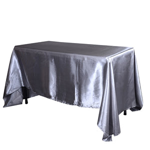 "90 inch x 156 Inch Silver 90"" x 156"" Satin Rectangle Tablecloths"