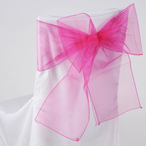Fuchsia - Organza Chair Sash - ( Pack of 10 Piece - 8 inches x 108 inches )