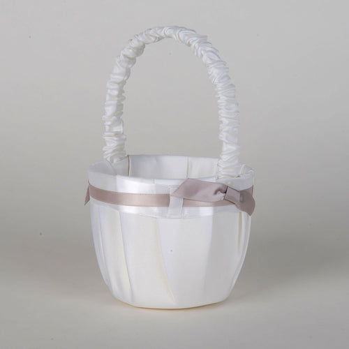 Flower Girl Baskets White ( 7 Inch Tall ) - 5667
