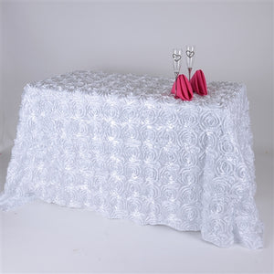 "90 Inch x 156 Inch White 90"" x 156"" Rectangle Rosette Tablecloths"