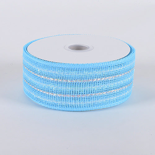 2-1/2 inch x 25 Yards Light Blue Laser Metallic Mesh Ribbon