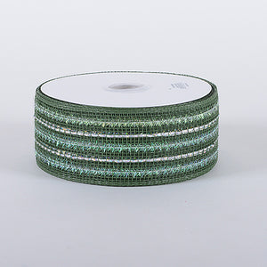 4 Inch x 25 Yards Old Willow Laser Metallic Mesh Ribbon