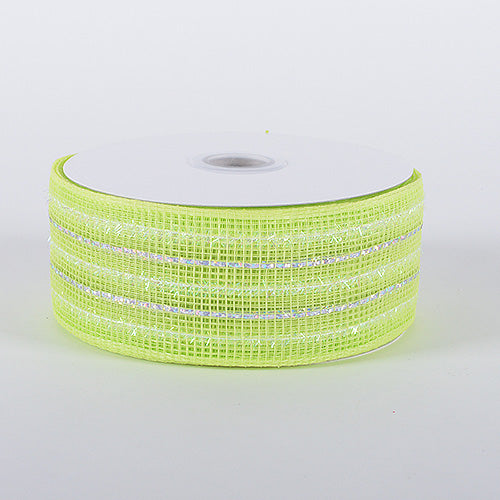 2-1/2 inch x 25 Yards Lime Laser Metallic Mesh Ribbon