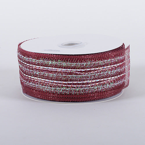 2-1/2 inch x 25 Yards Burgundy Laser Metallic Mesh Ribbon