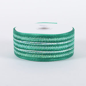 4 Inch x 25 Yards Emerald Laser Metallic Mesh Ribbon
