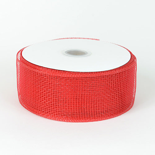 Red - Floral Mesh Ribbon ( 2-1/2 Inch x 25 Yards )