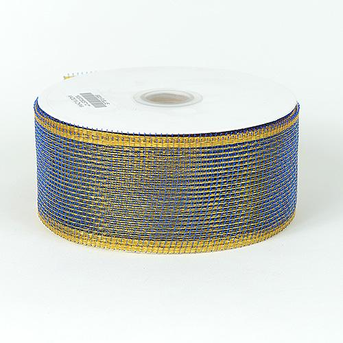 Royal Blue with Gold - Floral Mesh Ribbon ( 4 Inch x 25 Yards )