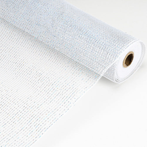 21 Inch x 10 Yards White Laser Metallic Floral Deco Mesh Wrap