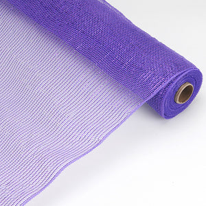 Purple - Laser Metallic Floral Deco Mesh Wrap ( 21 Inch x 10 Yards )