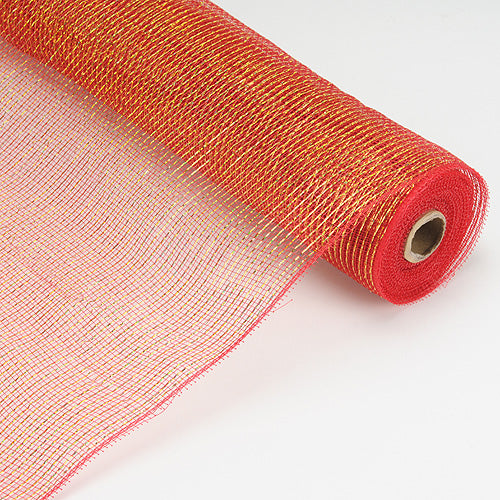 21 Inch x 10 Yards Red Laser Metallic Floral Deco Mesh Wrap