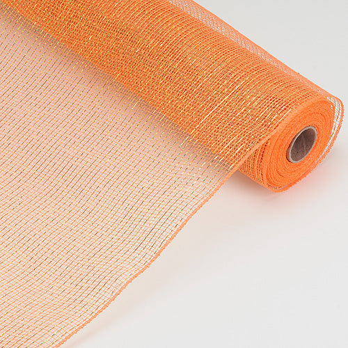 21 Inch x 10 Yards Orange Laser Metallic Floral Deco Mesh Wrap