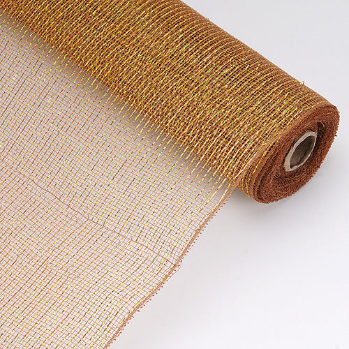 Brown - Laser Metallic Floral Deco Mesh Wrap ( 21 Inch x 10 Yards )