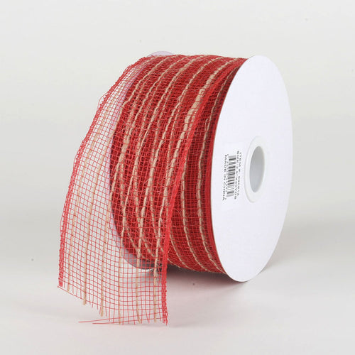Red - Deco Mesh with Jute Burlap Stripes - ( 2-1/2 Inch X 20 Yards )