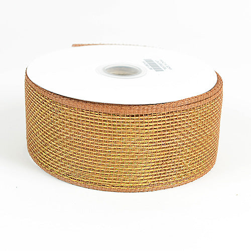 4 inch x 25 yards Old Gold Metallic Deco Mesh Ribbons