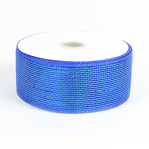 4 inch x 25 yards Royal Blue Metallic Deco Mesh Ribbons