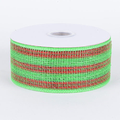 4 inch x 25 yards Green Red Metallic Deco Mesh Ribbons