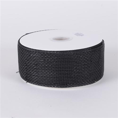 4 inch x 25 yards Black Metallic Deco Mesh Ribbons