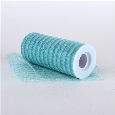 Aqua 6 Inch Glitter Multi Striped Tulle