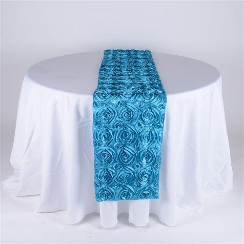 Turquoise - 14 x 108 Inch Rosette Satin Table Runners - FuzzyFabric