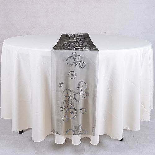 Organza Table Runners Black Silver ( 14 inch x 108 inches )