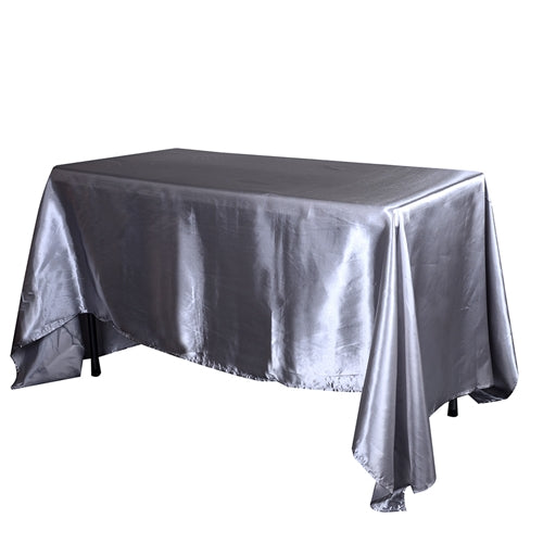 90 Inch x 132 Inch Silver 90 x 132 Satin Rectangle Tablecloth