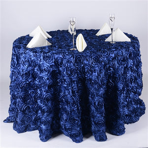 Navy Blue - 132 inch Rosette Satin Round Tablecloths - FuzzyFabric