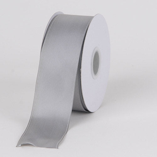 2-1/2 inch Silver Satin Ribbon Wired Edge
