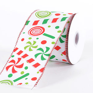 """RED /& GREEN CANDIES ON WHITE new 2.5 /"""" x 9 feet Wire Edge Ribbon"""